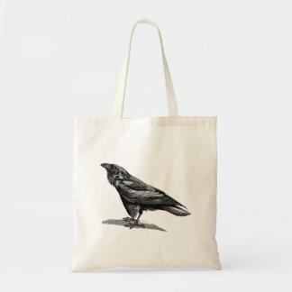 Vintage Raven Crow Blackbird Bird Illustration Tote Bag