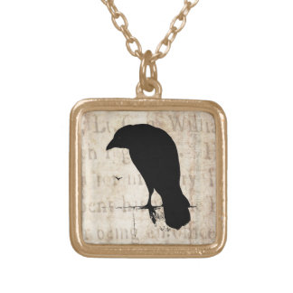 Vintage Raven - Custom Goth Crows Ravens Gold Plated Necklace
