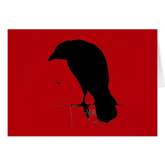 Vintage Raven on Blood Red Template