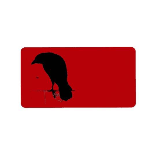 Vintage Raven on Blood Red Template Address Label
