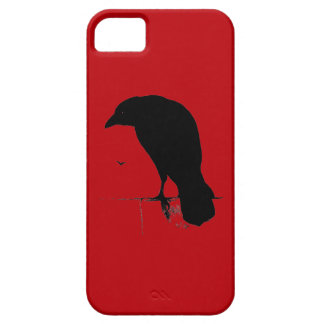 Vintage Raven on Blood Red Template iPhone 5 Covers