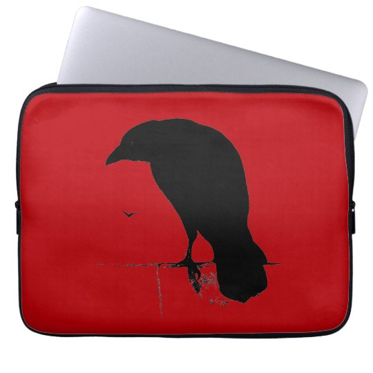 Vintage Raven on Blood Red Template Laptop Sleeve