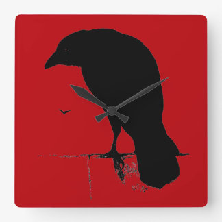 Vintage Raven on Blood Red Template Square Wall Clock