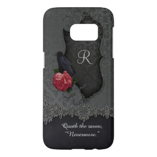Vintage Raven Red Rose Black Damask Monogram
