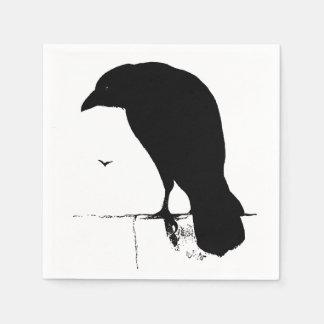 Vintage Raven Silhouette Retro Goth Ravens Crow Paper Napkins