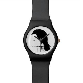 Vintage Raven Silhouette Retro Goth Ravens Crow Wristwatches