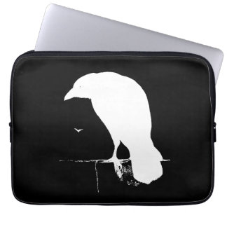 Vintage Raven Silhouette White on Black - Custom Laptop Sleeve