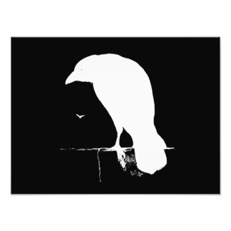 Vintage Raven Silhouette White on Black - Custom Photo