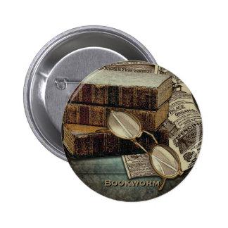 Vintage Reading Bookworm Buttons
