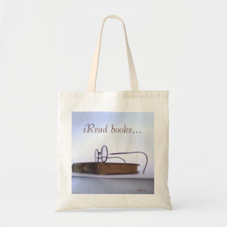 Vintage reading glasses nerdy librarian budget tote bag
