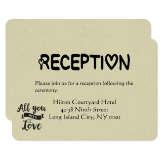 Vintage Reception Black & Tan Love Wedding Card