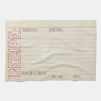 Vintage Recipe Index Card -Towel -Stenciled Header Tea Towel