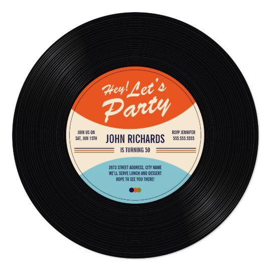 Vintage record birthday invite for Classic house record labels