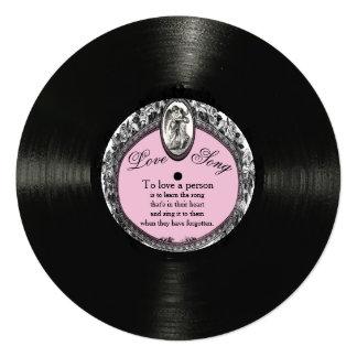Vintage Record Love Song Valentine 13 Cm X 13 Cm Square Invitation Card