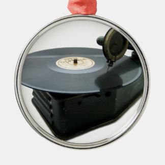 Vintage Record Player Metal Ornament