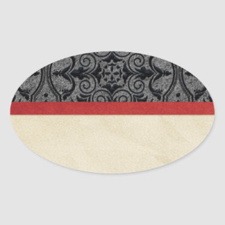 Vintage red and black oval sticker