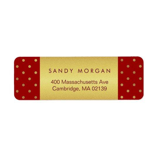 Vintage Red and Gold Polka Dots Return Address Label