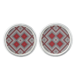 Vintage Red And Gray Geometric Abstract Pattern Cufflinks