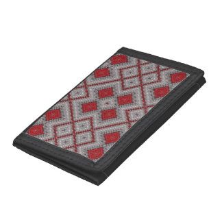 Vintage Red And Gray Geometric Abstract Pattern Tri-fold Wallets