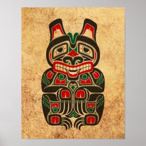 Vintage Red and Green Haida Spirit Bear Poster