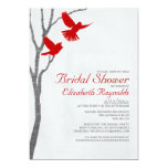Vintage Red Birds Bridal Shower Invitations