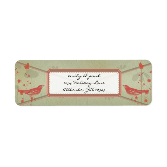 Vintage Red Birds Christmas Address Return Address Label