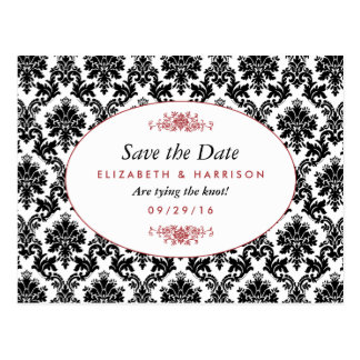 Vintage Red, Black & White Damask Save The Date Postcard