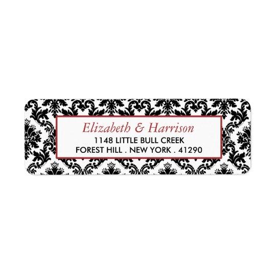 Vintage Red, Black & White Damask Wedding Return Address Label