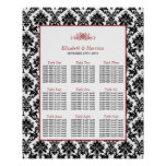 Vintage Red, Black & White Damask Wedding Seating Poster