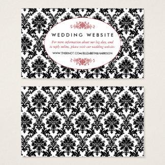 Vintage Red, Black & White Damask Wedding Website Business Card