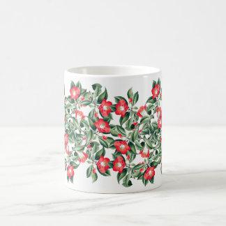 Vintage Red Camillia Flowers Leaves Mug