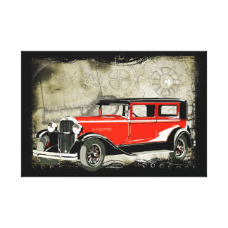 Vintage Red Car Canvas Print