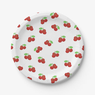 Vintage Red Cherries Cherry Pattern Paper Plate
