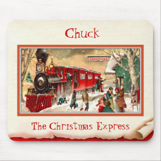 Vintage Red Christmas Train Mousepad