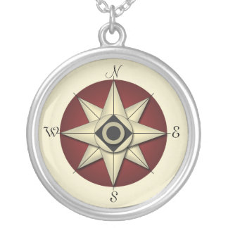 Vintage Red Compass Gold Necklace