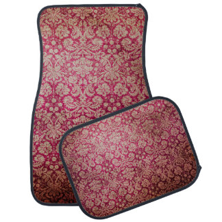 Vintage Red Cream Grunge Floral Damask Pattern Car Mat