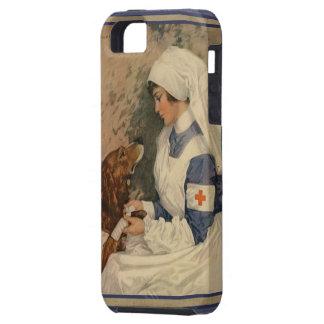 Vintage Red Cross Nurse with Golden Retriever Dog Tough iPhone 5 Case