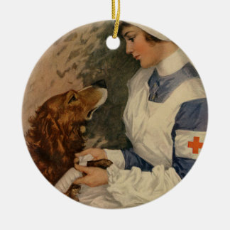 Vintage Red Cross Nurse with Golden Retriever Pet Ceramic Ornament