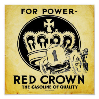 Vintage Red Crown Gasoline Print