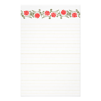 Vintage Red Daisy and Gold Curls Lined Stationery