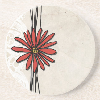 Vintage Red Daisy Drink Coasters