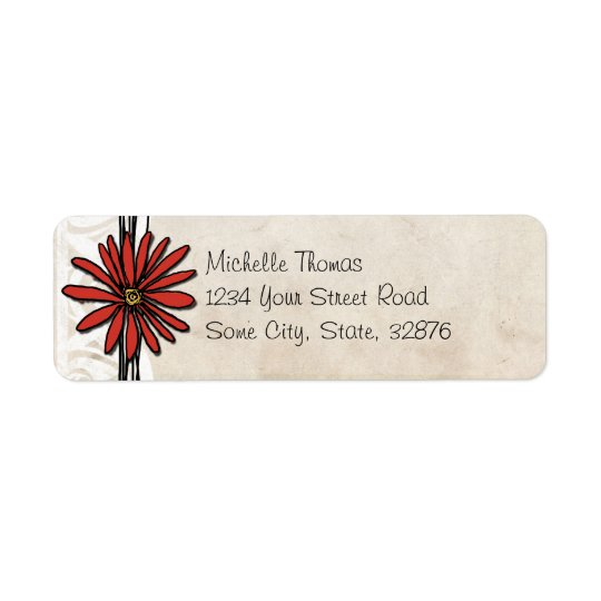Vintage Red Daisy Return Address Label