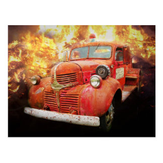 Vintage red fire truck from yesteryear postcard