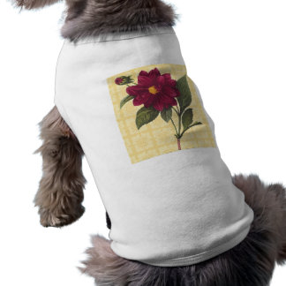 Vintage Red Floral Sleeveless Dog Shirt