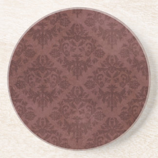 Vintage Red Floral Wallpaper Coaster
