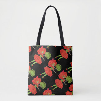 Vintage Red Flower Fairy All-Over-Print Tote Bag