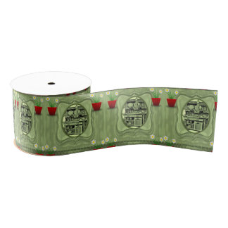 vintage red flower pot ribbon grosgrain ribbon