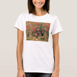 Vintage Red Flowers, Poppies by Robert Vonnoh T-Shirt