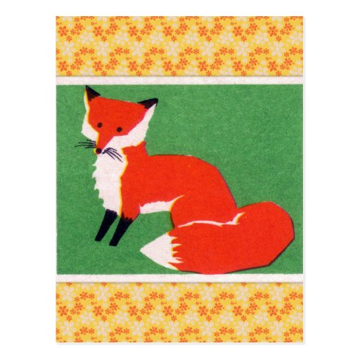 Vintage Red Fox Print Post Cards