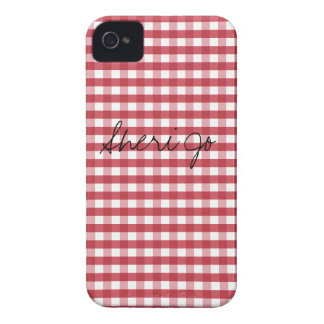 Vintage Red Gingham Customizable iPhone 4 Cases